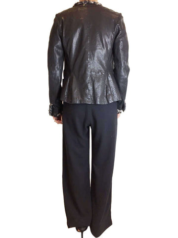Mulberry Lizzie Black Leather Jacket with Chain detail Size 8 Approx RRP £800