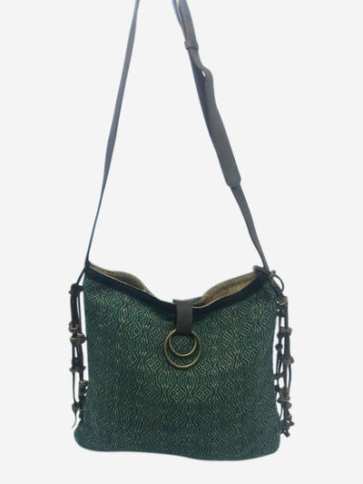 Green Akha diamond messenger tassel crossbody bag