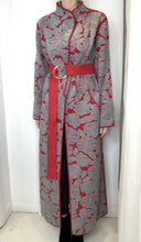 Load and play video in Gallery viewer, Grey and red textured full length jacket - size L