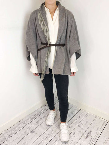 Fabiana Filippi Grey And Leather Cape Size M RRP £416