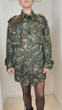 Load and play video in Gallery viewer, Khaki green oversize camouflage military jacket - size S