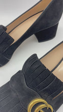 Load and play video in Gallery viewer, Black suede Marmont fringe detail heels  - size EU 38.5