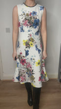 Load and play video in Gallery viewer, Jana white & multi floral midi dress - size UK 8
