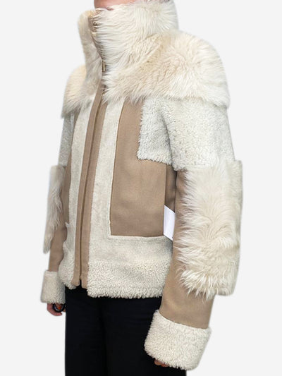 Beige patchwork reversible fur and suede jacket- size UK 6