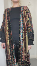 Load and play video in Gallery viewer, Lurex gold, black and pink paisley duster coat - One size