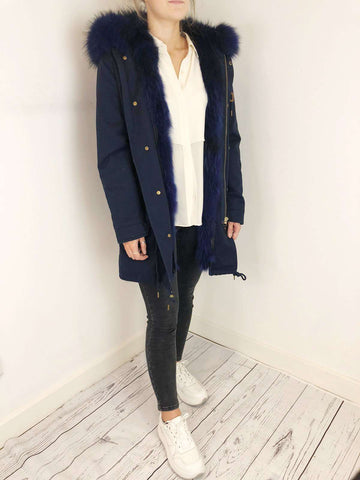 Mr & Mrs Blue Fur Parka Coat Size 12 RRP £1818
