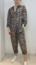 Load and play video in Gallery viewer, Navy and beige paisley print cotton jumpsuit- size UK 10