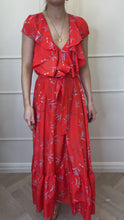 Load and play video in Gallery viewer, Red floral frill maxi dress - size UK 8