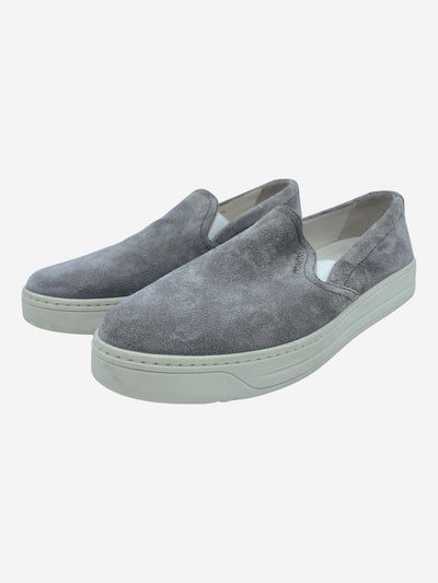 Grey suede slip on trainers - size EU 37.5