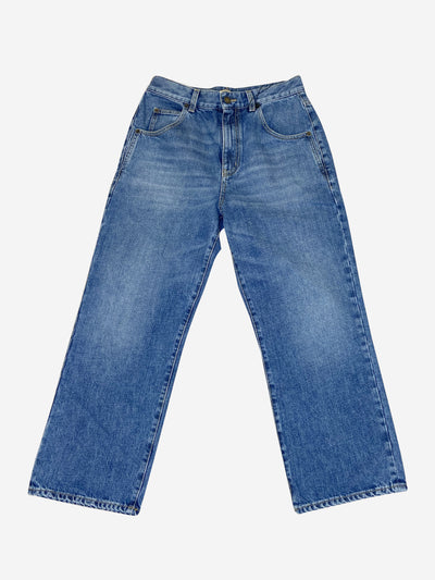 Blue high waisted cropped jeans - size waist 31
