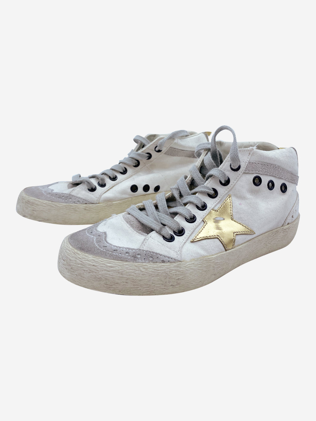 White midrise trainers with gold star accents- size EU 36 (UK 3)