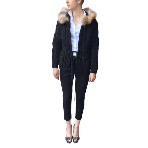 Moschino Cheap and Chic Fur Collared Cardigan