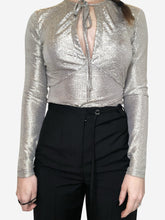 Load image into Gallery viewer, Silver long sleeve wrap top silver/gold - size 10