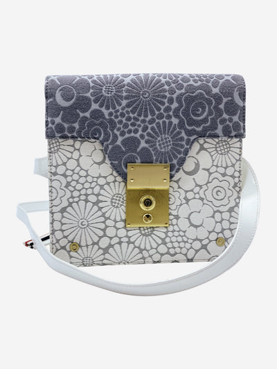 Grey and white floral canvas crossbody bag