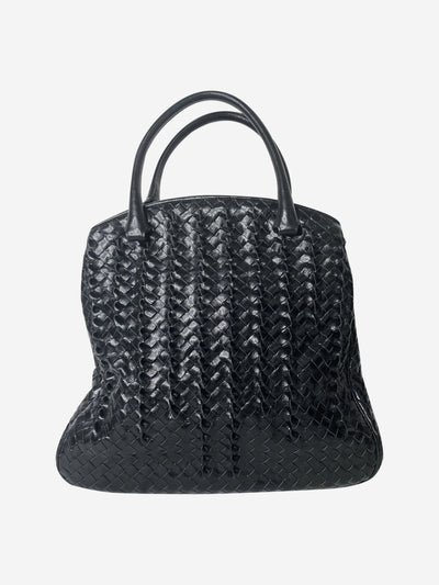 Black patent woven top handle tote bag