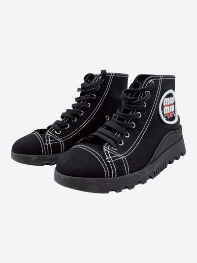 Black canvas logo high top trainers - size EU 37