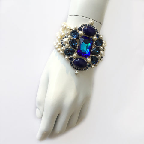 Christian Dior Faux Pearl and Blue Gemstone Costume Bracelet