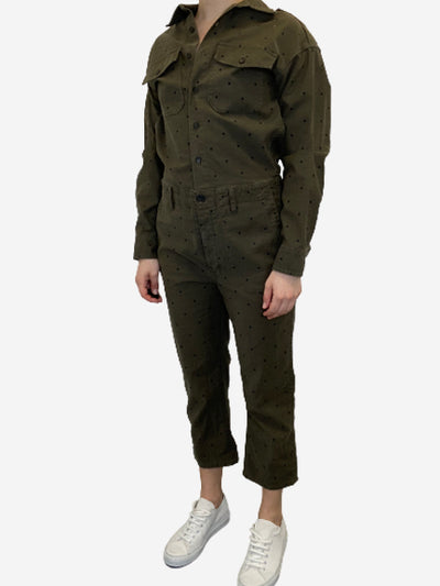 Khaki denim jumpsuit with black polkadots- size S