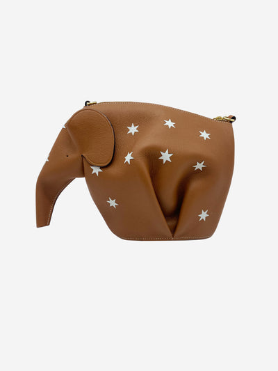 Tan Elephant star print cross body bag