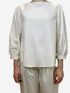 Rodebjer Cream raw silk blouse top- size XS