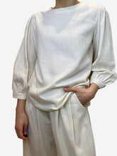 Load image into Gallery viewer, Cream raw silk blouse top- size XS