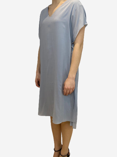 Blue v neck silk tunic dress- size S