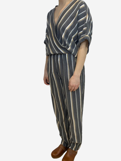 Grey, white, and mustard chevron stripe jumpsuit- size UK 12