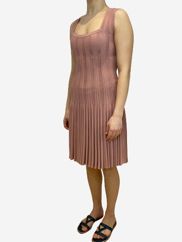 Dusky pink sleeveless pleated knit stretch dress- size UK 10
