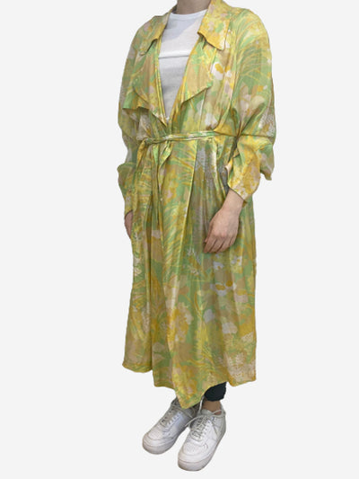 Green and yellow silk duster jacket- size M