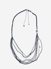 Load image into Gallery viewer, Pewter multi-strand long chain necklace