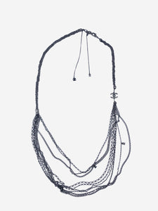Chanel Pewter multi-strand long chain necklace