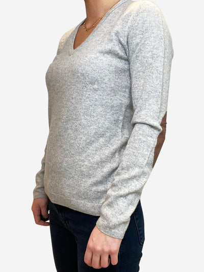 Grey v-neck cashmere sweater with elbow patches - size S