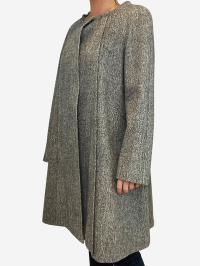 Grey flocked wool round neck coat - size IT 40