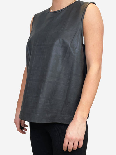Black sleeveless leather top - size L
