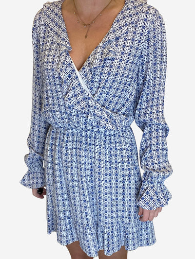 Blue and white printed dress - size S