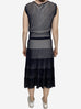 Franca black and white striped textured jersey dress - size  UK 10