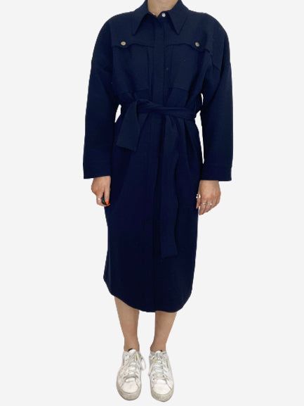 Navy belted shirt dress - size S