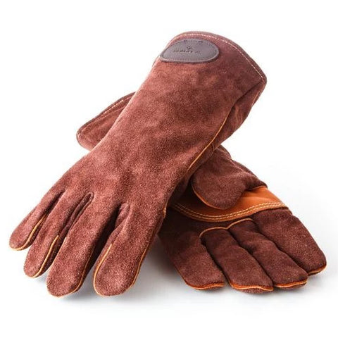 A pair of suede leather log gloves in brown with smooth leather tan palms