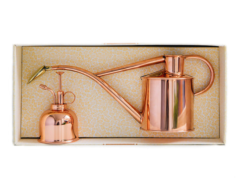 Haws 1l copper watering can and copper mister in a gift box