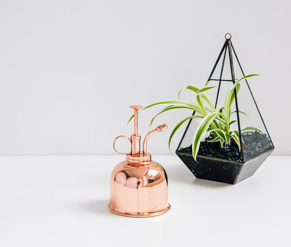 A shiny Haws copper mister for plants or plant mister
