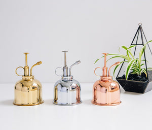 Haws mist sprayers in brass, nickel and copper