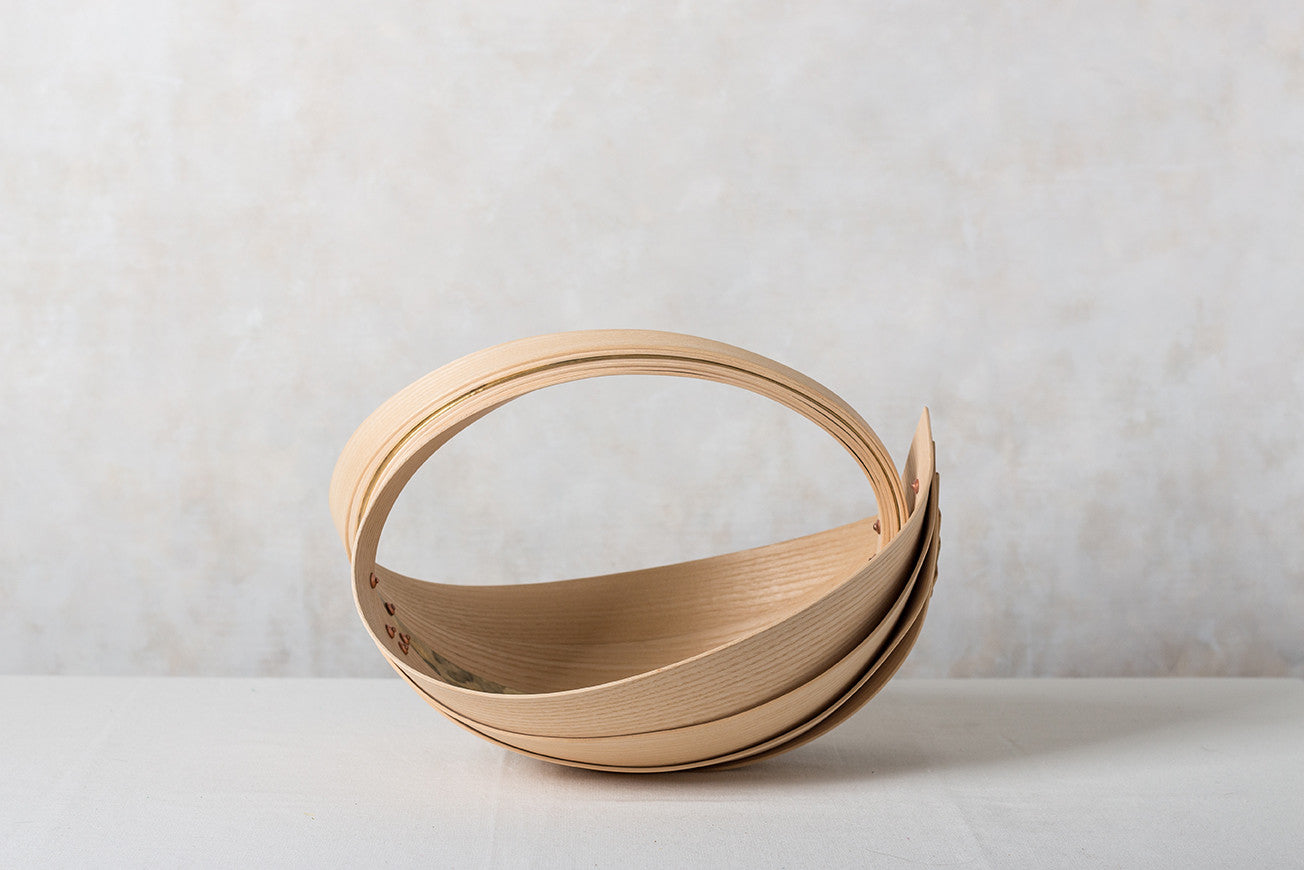 Small ash and brass trug by Jane Crisp