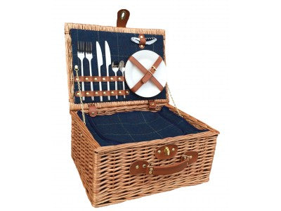 Vintage Style Wicker Blue Tweed Picnic Basket For Two