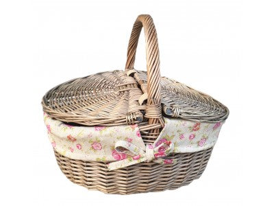 Vintage Style Wicker Oval Picnic Basket With Garden Rose Lining