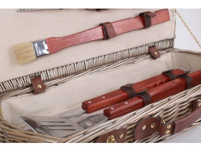 Vintage Style Wicker Barbecue Tool Basket Set