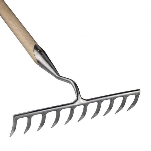 The head of a ten tined Sneeboer stainless steel garden rake