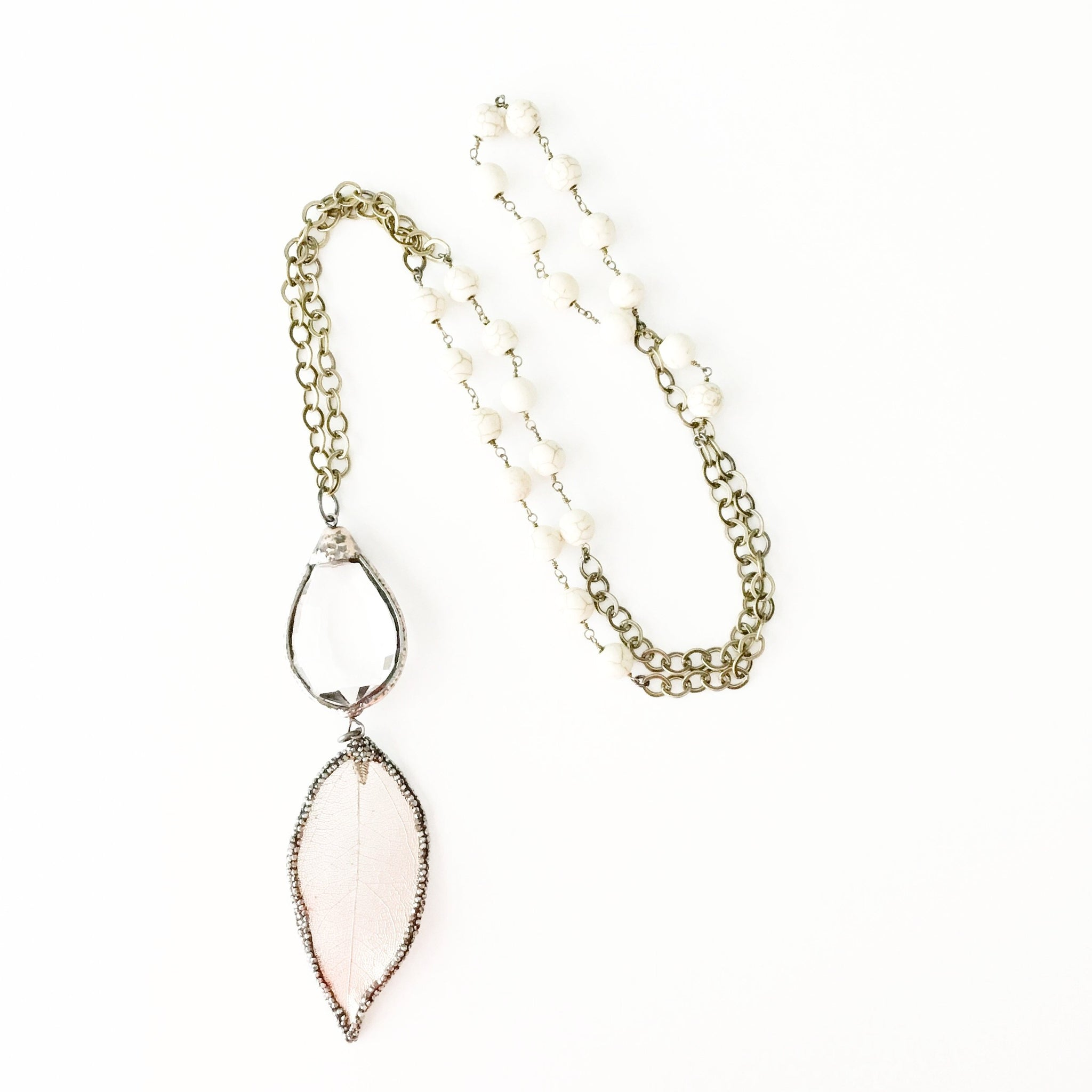 Quartz and Leaf Focal Necklace