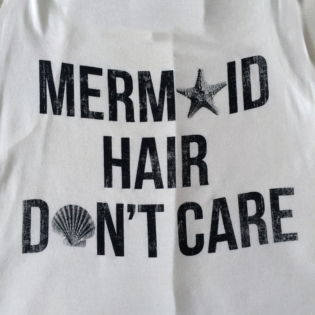 Mermaid Hair Don't Care Tank Top in Ivory