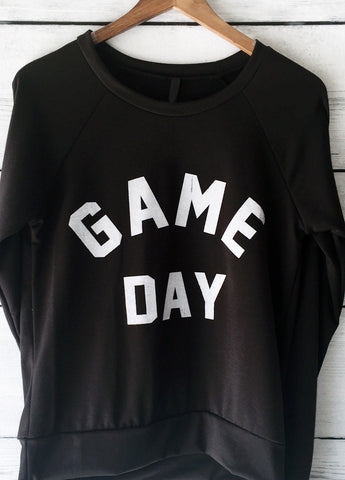Game Day Football SweatShirt for Women in Black