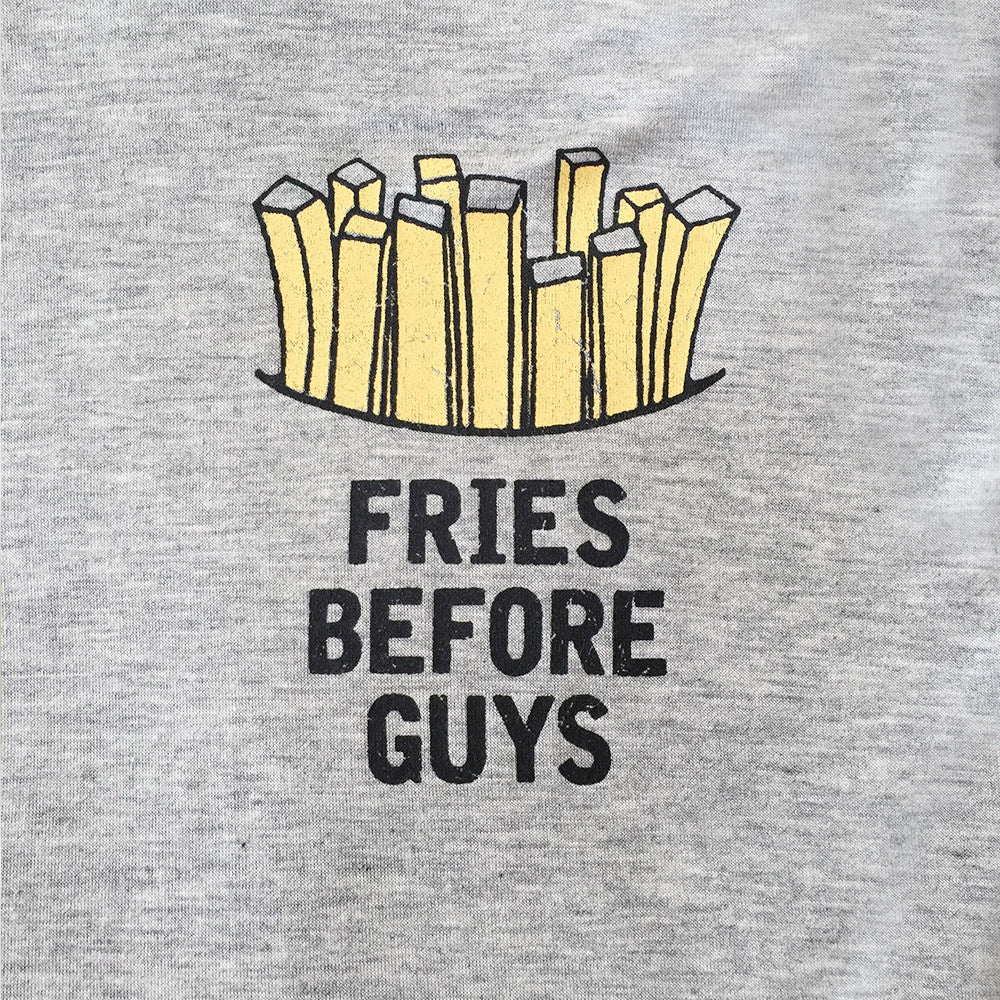 Fries Before Guys Long Sleeve Shirt With Hoodie in Heather Grey and Black